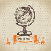 Vintage vector background with hand drawn back to school illustr — Stock Vector