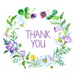 Stock Vector: Thank you card with watercolor floral bouquet. Vector illustrati
