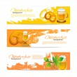 Banners of Oktoberfest beer design. Hand drawn illustrations. Sp — Stock Vector