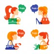 Set of beautiful girl silhouette with fashion icons. Shopping woman. Sale elegant stylish signs — Stock Vector