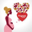 Pregnant woman silhouette. Heart shape with vector food icons — Stock Vector