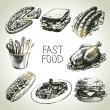 Fast food set. Hand drawn illustrations — Stock Vector #29335431