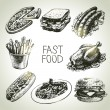 Fast food set. Hand drawn illustrations — Stock Vector