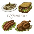 Fast food set. Hand drawn illustrations  — Stockvectorbeeld