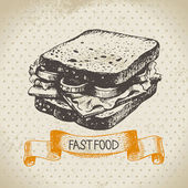Antecedentes de la vendimia de comida rápida. ilustración dibujado a mano. — Vector de stock