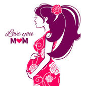 Beautiful silhouette of pregnant woman — Stock Vector