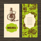 Menu for restaurant, cafe, bar. Olive vintage background. — Stock Vector