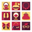 Flat icons. Set of woman fashion symbols — Stock Vector