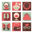 Stock Vector: Set of woman fashion flat icons