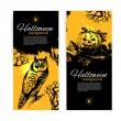 Set of Halloween banners. Hand drawn illustration — Stock Vector