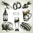 Oktoberfest set of beer. Hand drawn illustrations — Stock Vector #29721993