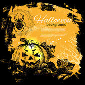 Halloween background. Hand drawn illustration — Vettoriale Stock