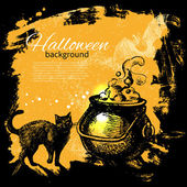 Halloween background. Hand drawn illustration — Stockvector