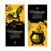 Set of Halloween banners. Hand drawn illustration — Stock Vector