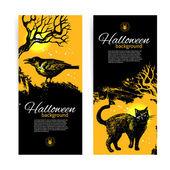 Uppsättning av halloween banners. hand dras illustration — Stockvektor
