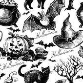 Halloween seamless pattern. Hand drawn illustration — Stock Vector