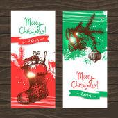Uppsättning jul banners. hand dras illustrationer — Stockvektor