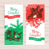 Set of Christmas banners. Hand drawn illustrations — Stock Vector