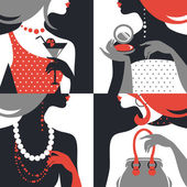 Set of beautiful fashion woman silhouettes. Flat design — Stock Vector