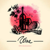 Wine vintage background. Watercolor hand drawn illustration — Vecteur