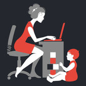 Beautiful silhouette of mother - freelancer with notebook and baby playing with toys — Stock vektor