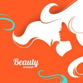 Beautiful fashion woman silhouette. Paper design — Stock Vector