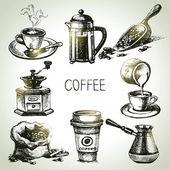 Hand drawn coffee set — Stock Vector