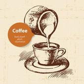 Hand drawn vintage coffee — Stock Vector