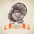 Hand drawn vintage Thanksgiving Day — Stock Vector