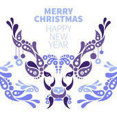 Background with Christmas deer — Stock Vector