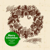 Christmas background with hand drawn illustration — Vettoriale Stock
