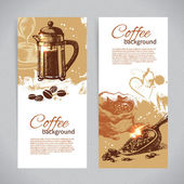 Banner set of vintage coffee backgrounds. — Stock Vector