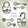 Stock Vector: Locks and keys set