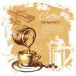Stock Vector: Vintage coffee background