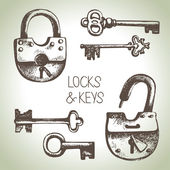 Locks and keys set — Stock Vector