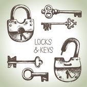 Locks and keys set — Stock Vector