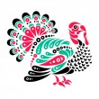Happy Thanksgiving beautiful turkey tattoo — Stock Vector