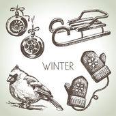 Hand drawn winter Christmas set — Stock Vector