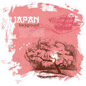 Hand drawn vintage Japanese sushi background — Stock Vector