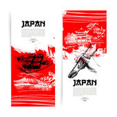 Set of Japanese sushi banners. Sketch illustrations for menu — Stock Vector