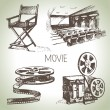 Movie and cinema set. Hand drawn vintage illustrations — Stock Vector