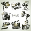 Movie and film set. Hand drawn vintage illustrations — Stock Vector