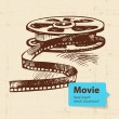 Hand drawn movie illustration. Sketch background — Stock Vector