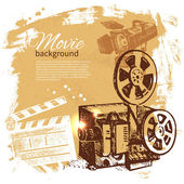 Movie background with hand drawn sketch illustration — Stock Vector