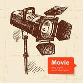 Hand drawn movie illustration. Sketch background — Stock Vector