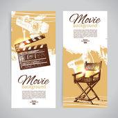 Set van cinema banners met hand getrokken schets illustraties — Stockvector