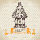Honey background with hand drawn sketch illustration — Stock Vector