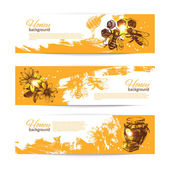 Set of honey banners with hand drawn sketch illustrations — Stock Vector