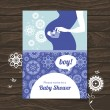 Silhouette pregnant mother. Baby shower invitation — Stock Vector