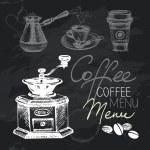 Coffee hand drawn chalkboard design set. Black chalk texture — Stock Vector #37090129
